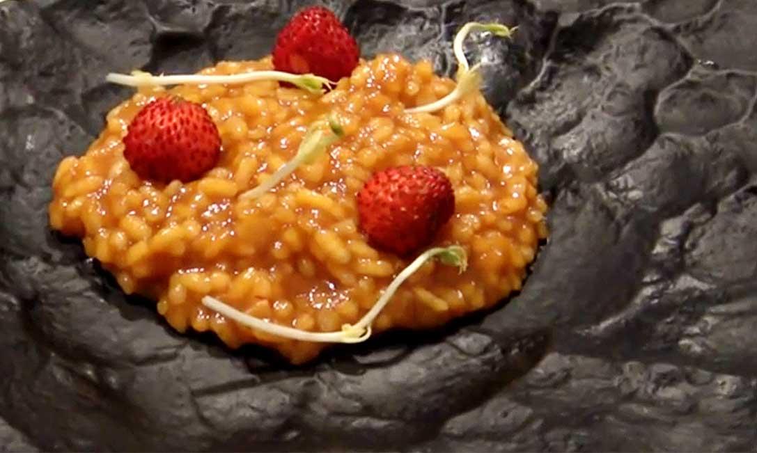 Arroz meloso de calabaza rustida y fresas de Canals // Por María José Martínez, de Lienzo